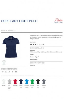 Printer Polo light RSX dames 2265023 zwart